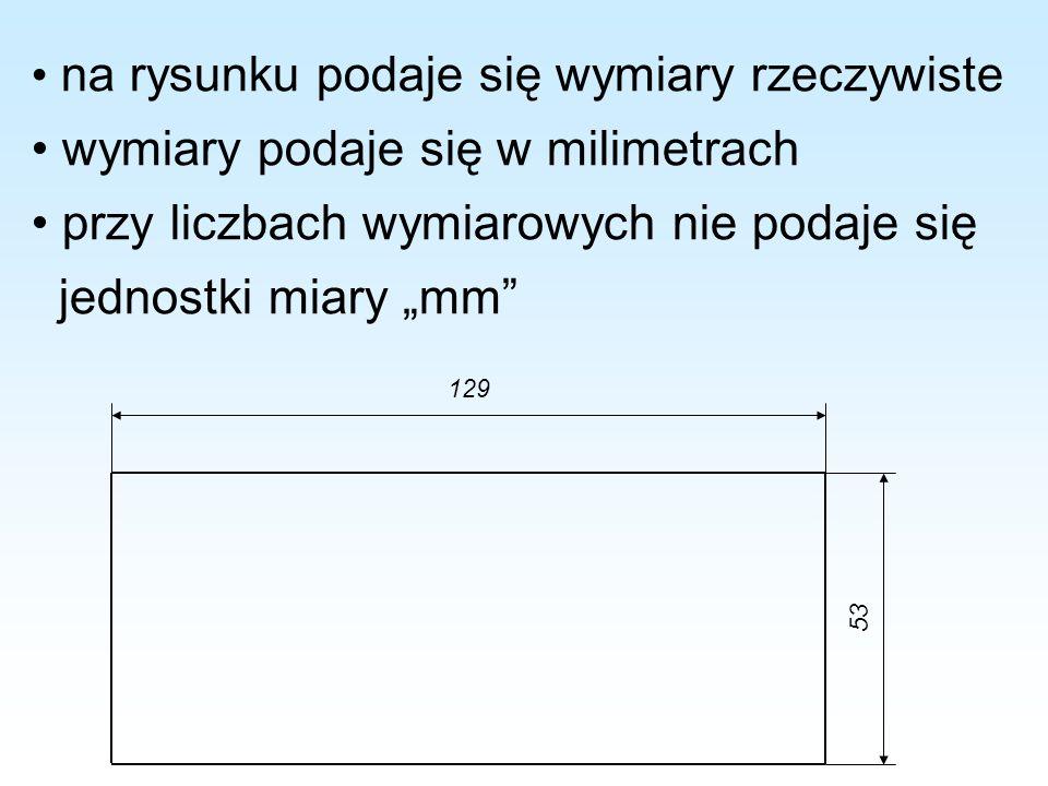 • wymiary podaje się w milimetrach