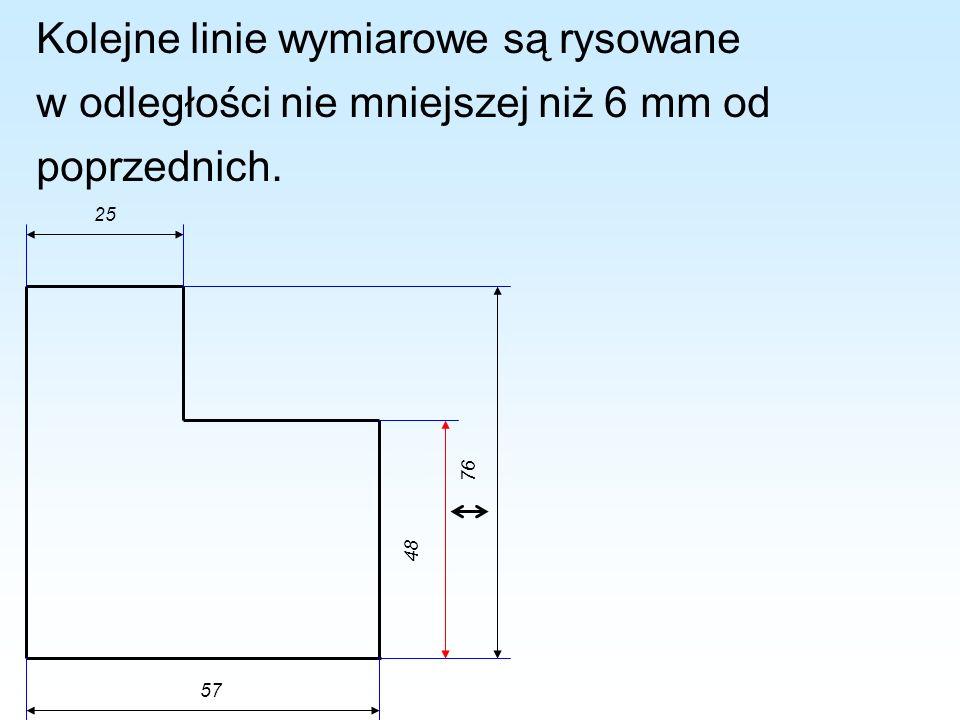Kolejne linie wymiarowe są rysowane w odległości nie mniejszej niż 6 mm od poprzednich.