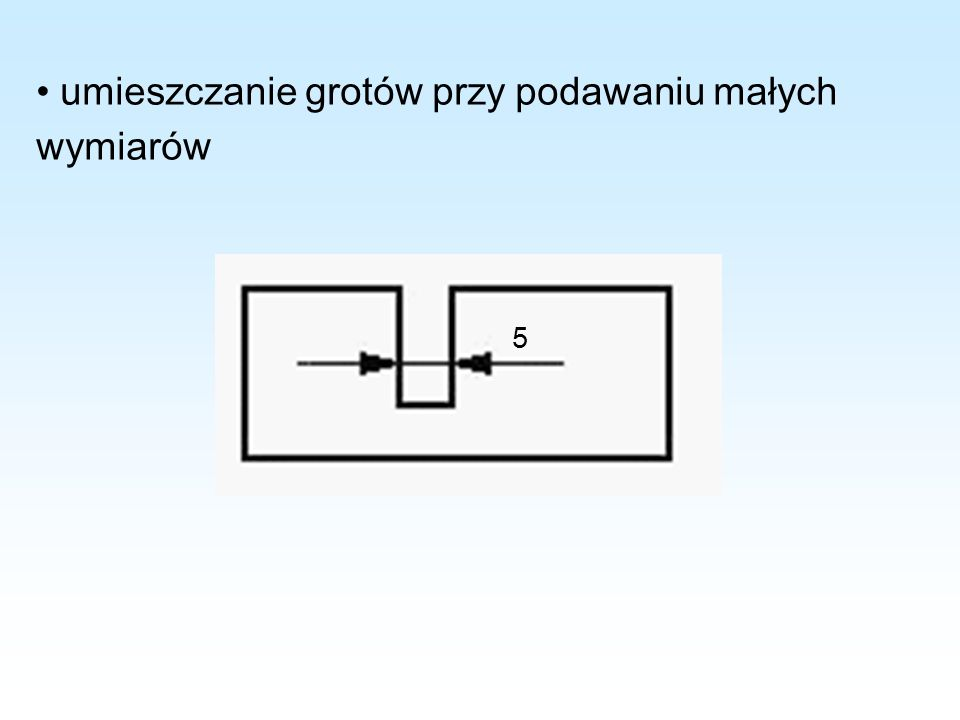 • umieszczanie grotów przy podawaniu małych wymiarów