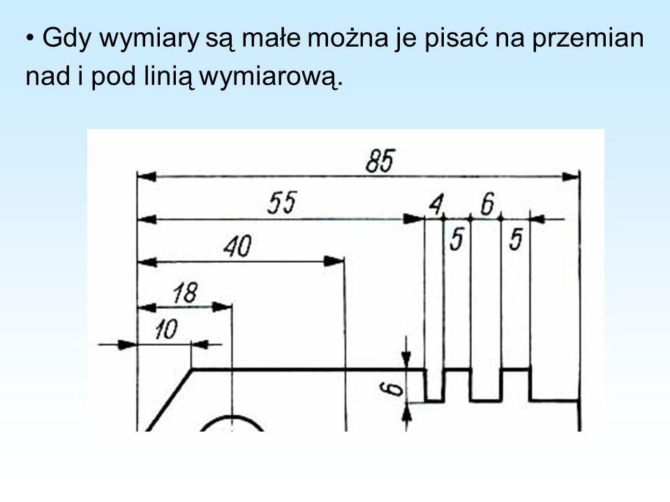 • Gdy wymiary są małe można je pisać na przemian nad i pod linią wymiarową.
