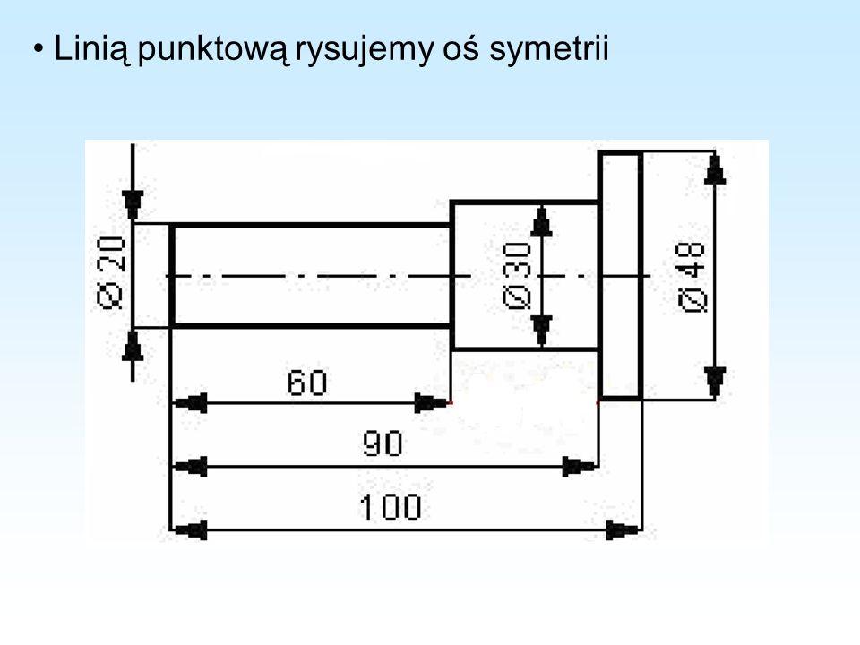 • Linią punktową rysujemy oś symetrii