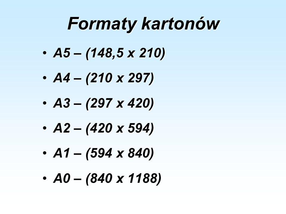 Formaty kartonów A5 – (148,5 x 210) A4 – (210 x 297) A3 – (297 x 420)
