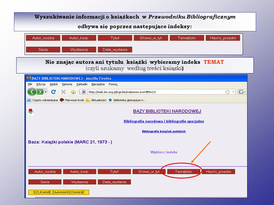 Wyszukiwanie informacji o książkach w Przewodniku Bibliograficznym