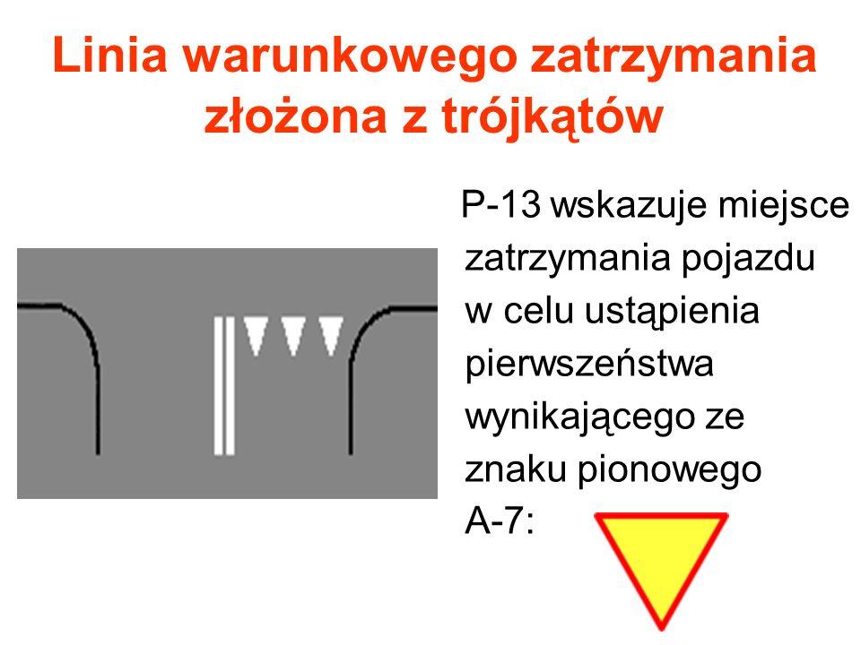 Linia warunkowego zatrzymania złożona z trójkątów