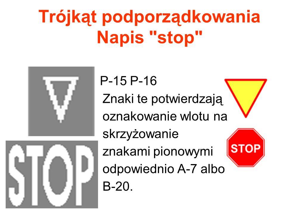 Trójkąt podporządkowania Napis stop