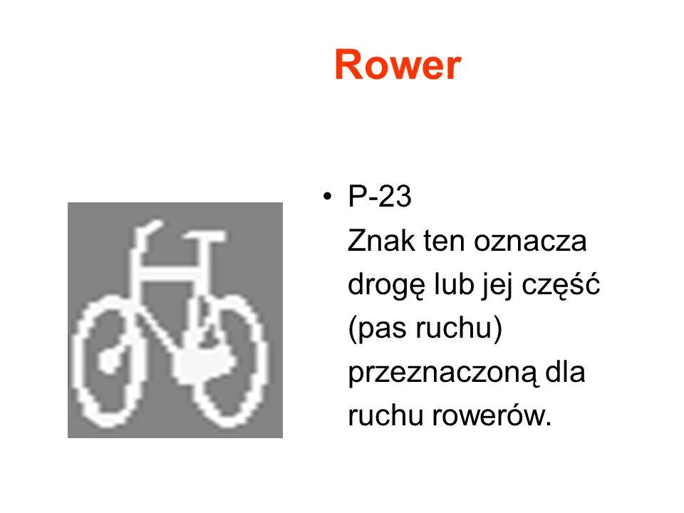 Rower P-23 Znak ten oznacza drogę lub jej część (pas ruchu) przeznaczoną dla ruchu rowerów.