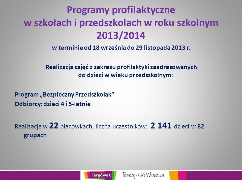 Programy profilaktyczne w szkołach i przedszkolach w roku szkolnym 2013/2014