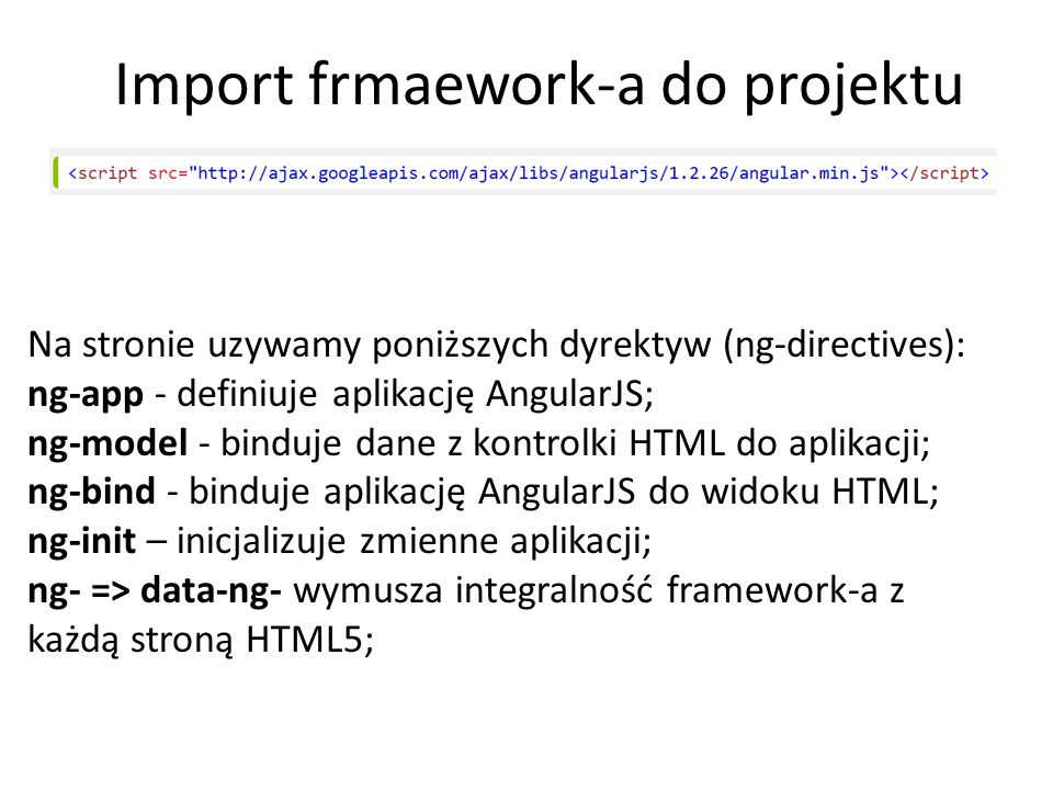 Import frmaework-a do projektu
