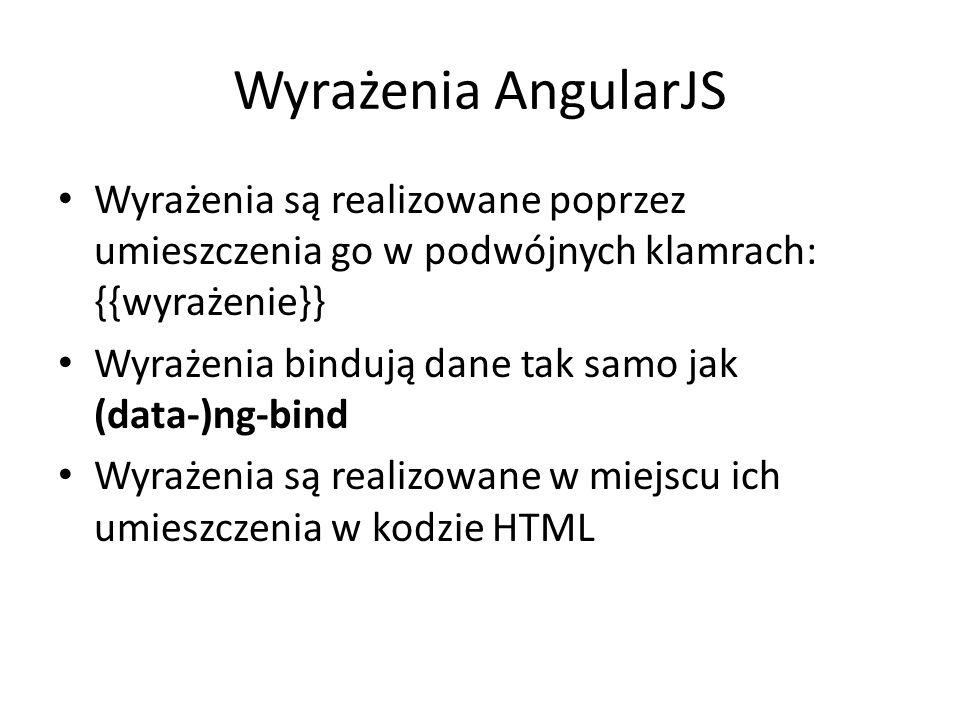 Wyrażenia AngularJS Wyrażenia są realizowane poprzez umieszczenia go w podwójnych klamrach: {{wyrażenie}}