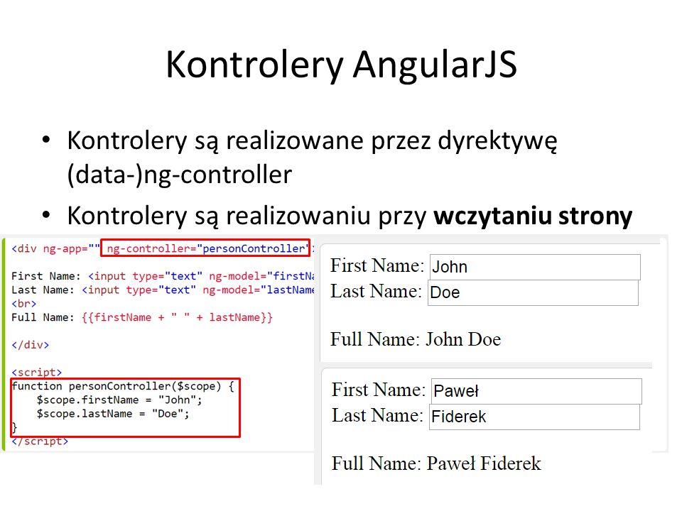 Kontrolery AngularJS Kontrolery są realizowane przez dyrektywę (data-)ng-controller.