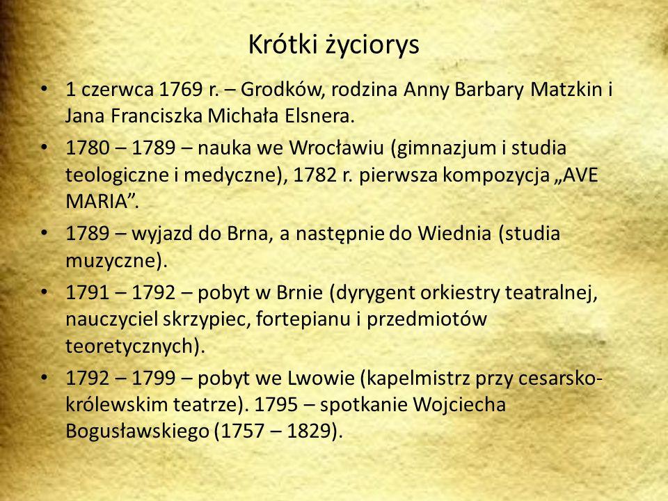 Krótki życiorys 1 czerwca 1769 r. – Grodków, rodzina Anny Barbary Matzkin i Jana Franciszka Michała Elsnera.