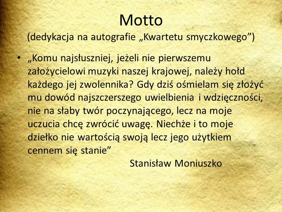 """Motto (dedykacja na autografie """"Kwartetu smyczkowego )"""