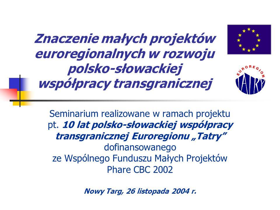 Znaczenie małych projektów euroregionalnych w rozwoju polsko-słowackiej współpracy transgranicznej