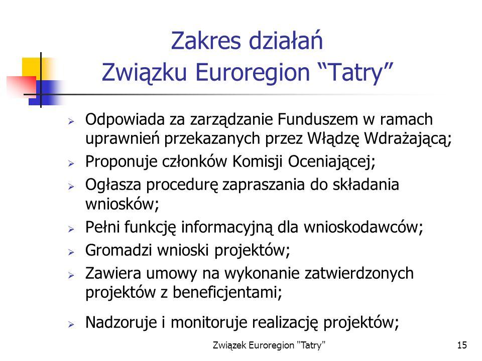 Zakres działań Związku Euroregion Tatry