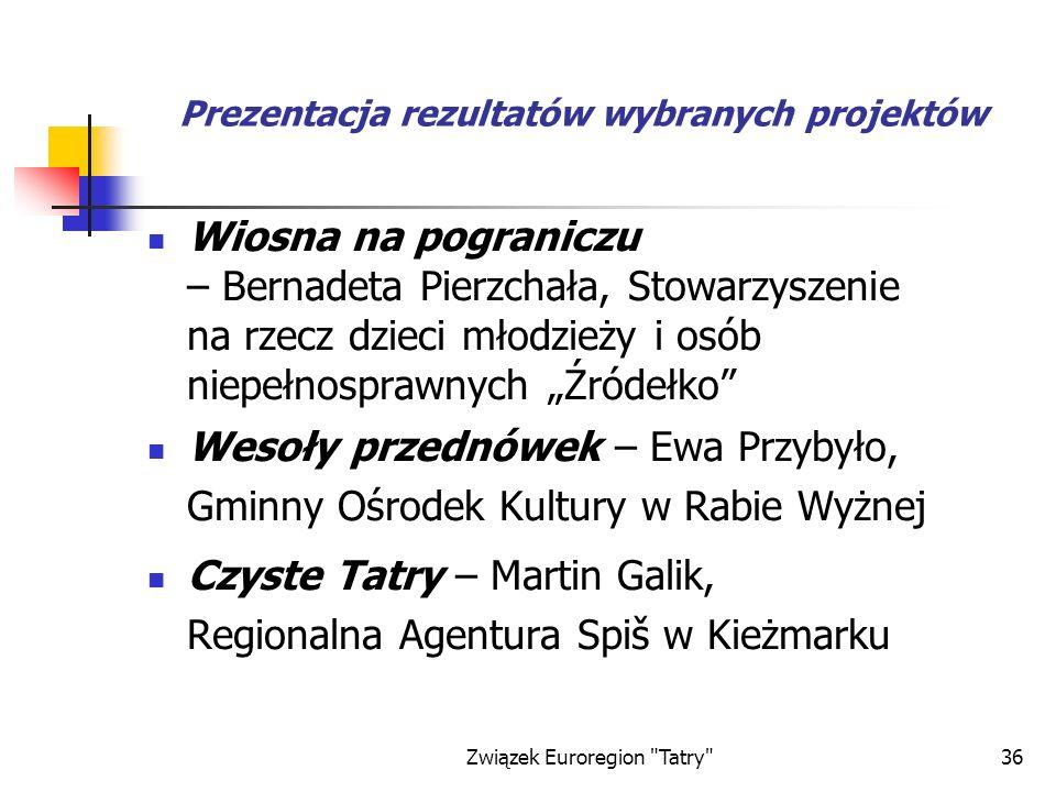 Prezentacja rezultatów wybranych projektów