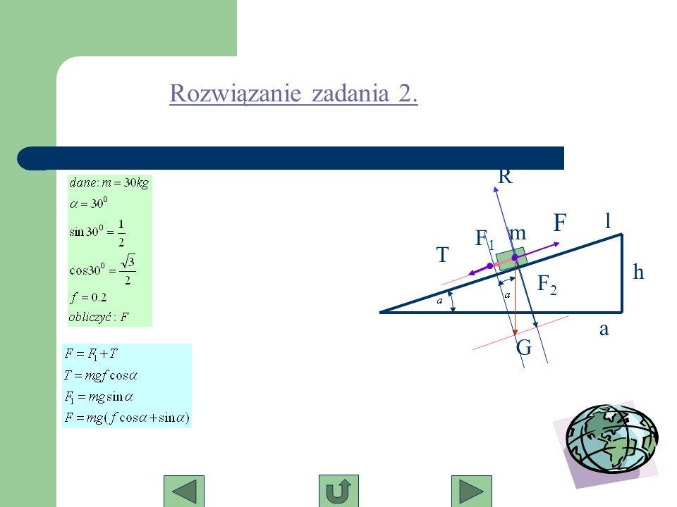 Rozwiązanie zadania 2. R F l m F1 T h F2 a G