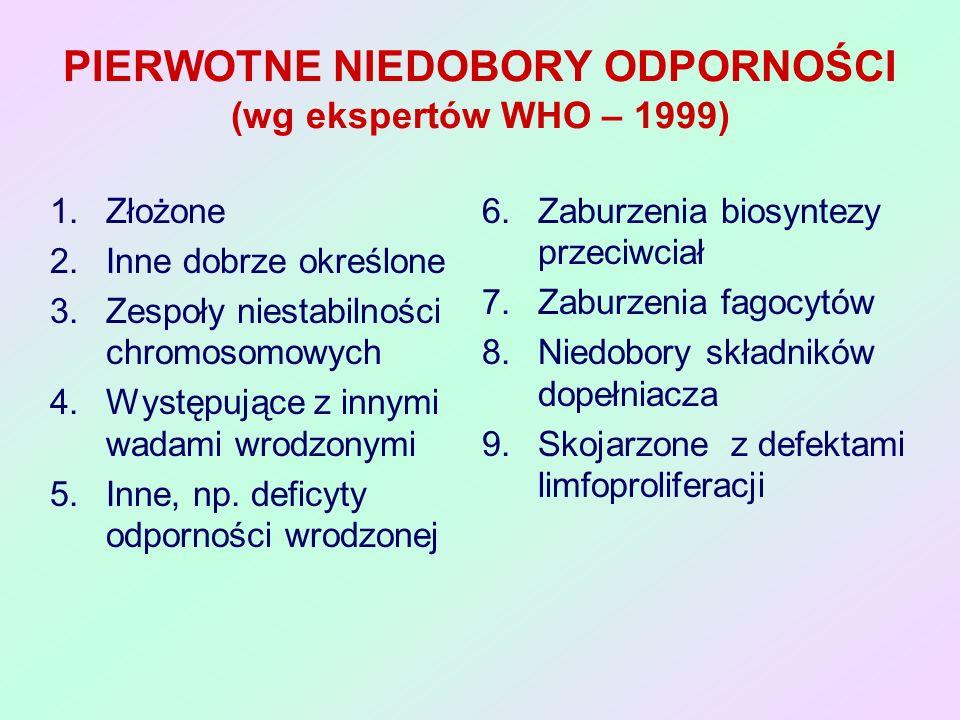 PIERWOTNE NIEDOBORY ODPORNOŚCI (wg ekspertów WHO – 1999)