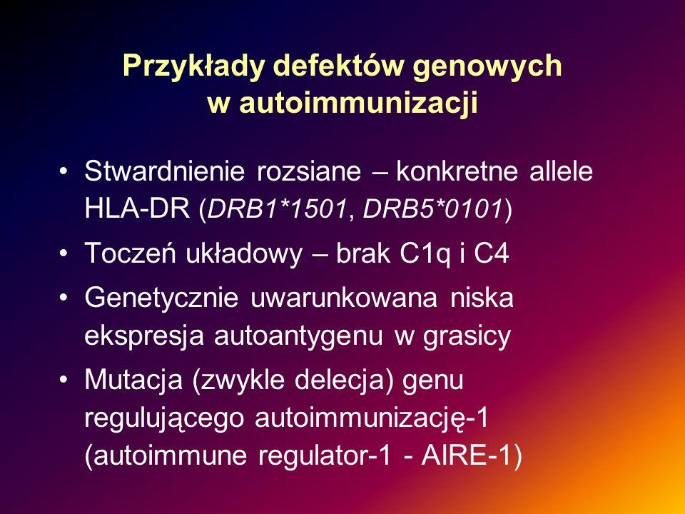 Przykłady defektów genowych w autoimmunizacji