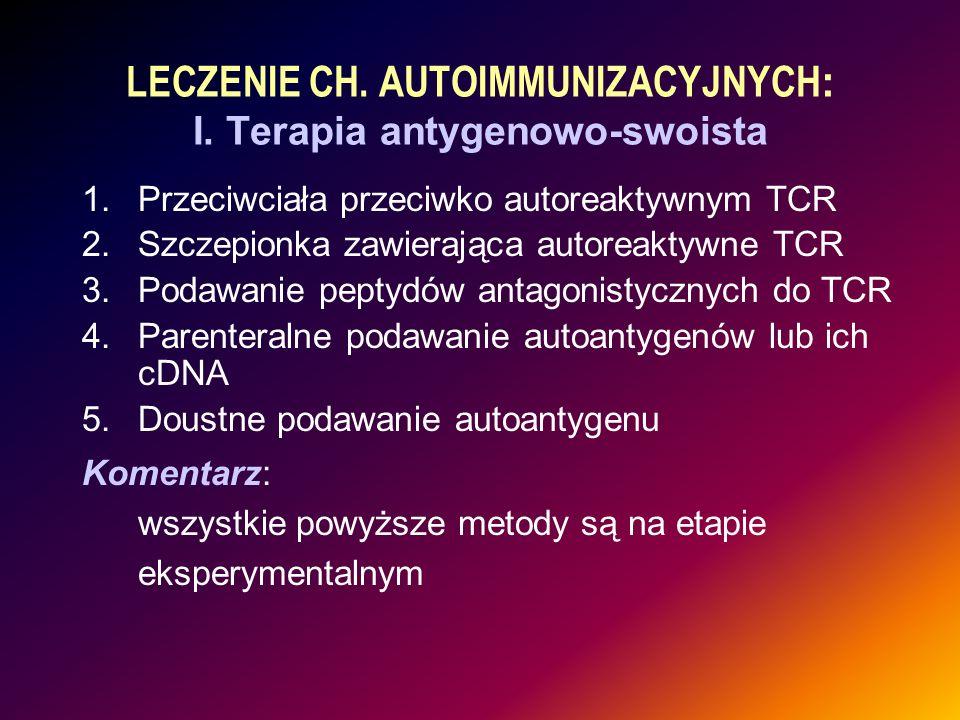 LECZENIE CH. AUTOIMMUNIZACYJNYCH: I. Terapia antygenowo-swoista
