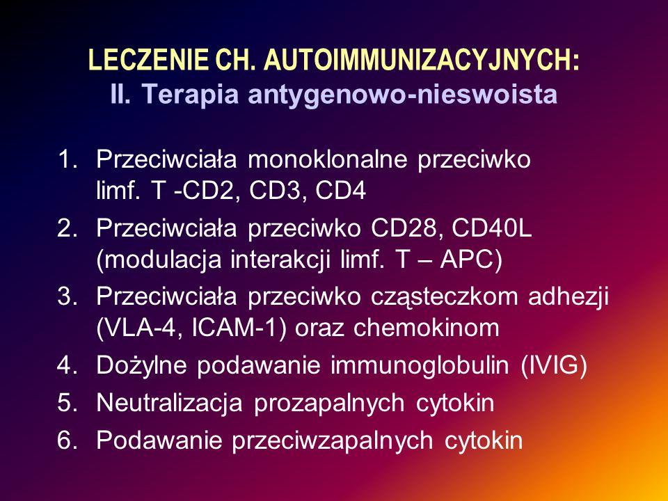 LECZENIE CH. AUTOIMMUNIZACYJNYCH: II. Terapia antygenowo-nieswoista