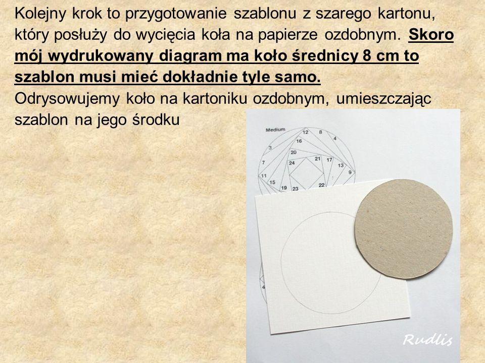 Kolejny krok to przygotowanie szablonu z szarego kartonu, który posłuży do wycięcia koła na papierze ozdobnym.