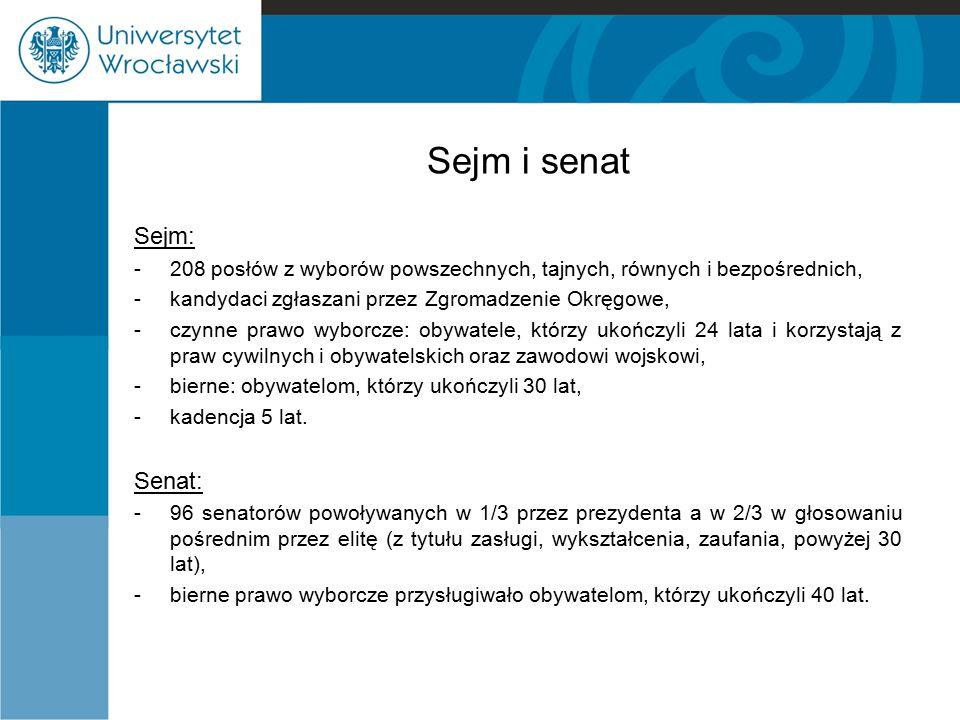 Sejm i senat Sejm: Senat: