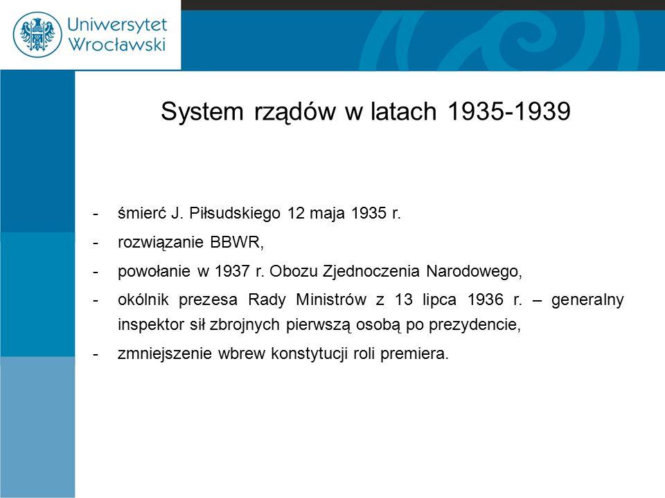 System rządów w latach 1935-1939