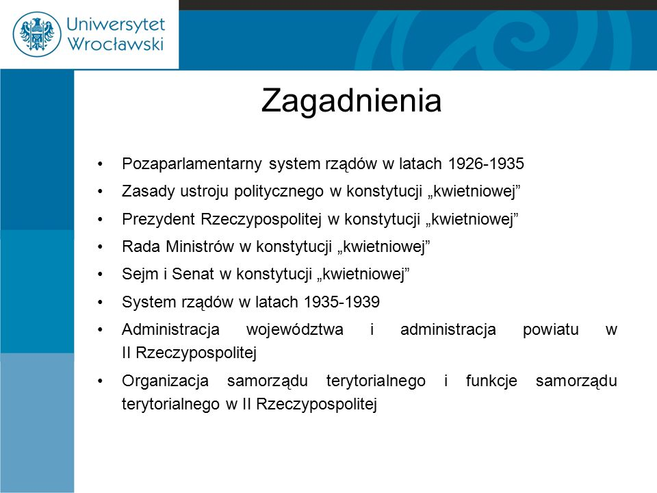 Zagadnienia Pozaparlamentarny system rządów w latach 1926-1935