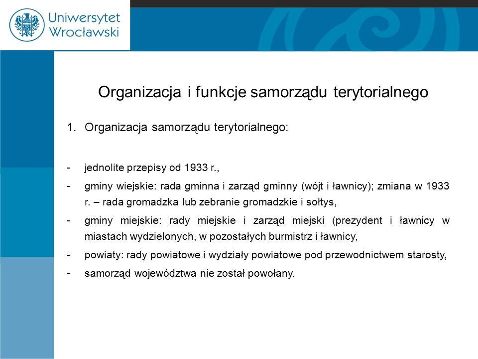 Organizacja i funkcje samorządu terytorialnego