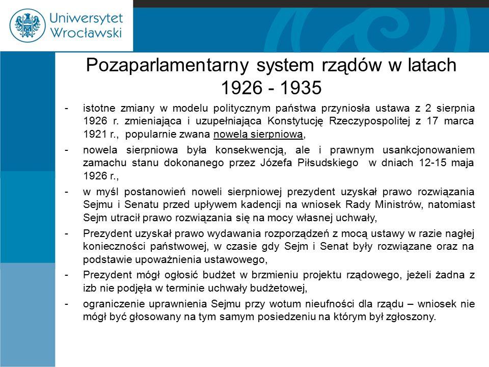 Pozaparlamentarny system rządów w latach 1926 - 1935