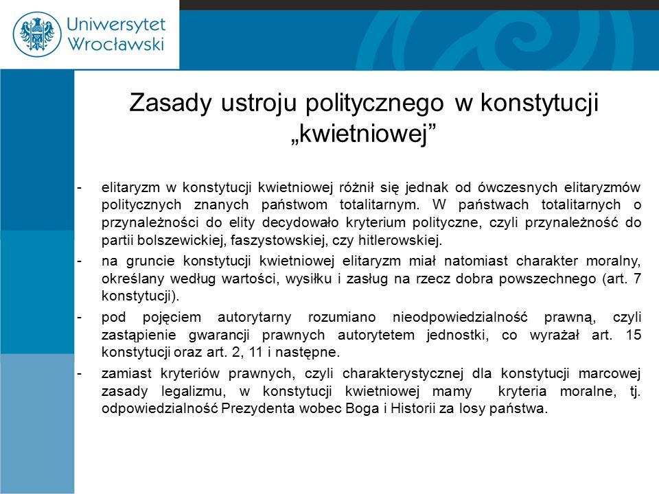 """Zasady ustroju politycznego w konstytucji """"kwietniowej"""