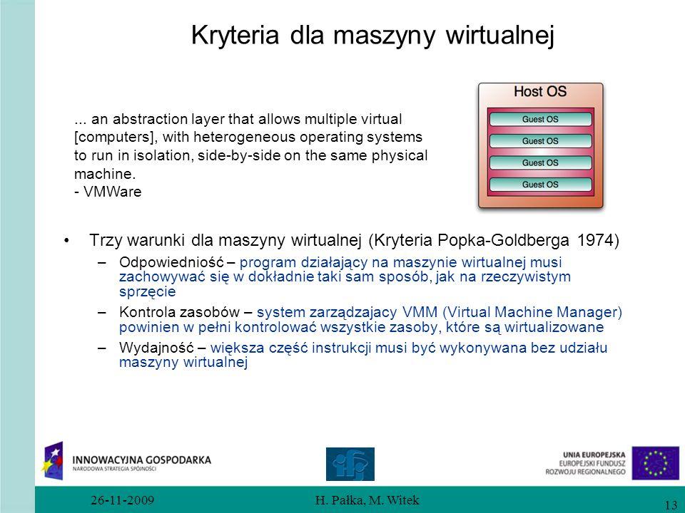 Kryteria dla maszyny wirtualnej