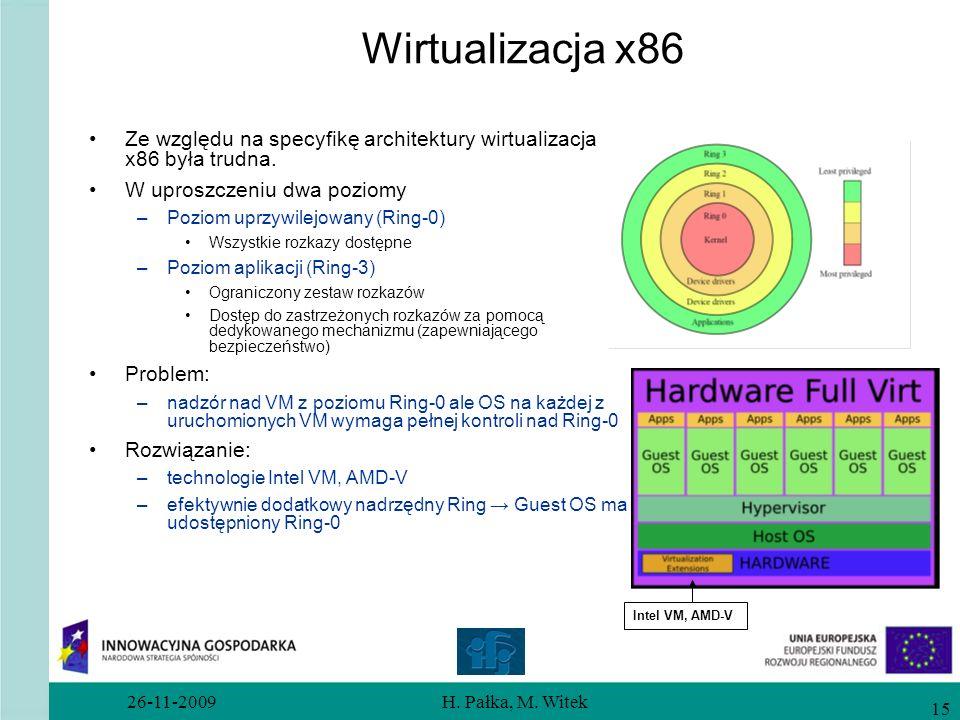Wirtualizacja x86 Ze względu na specyfikę architektury wirtualizacja x86 była trudna. W uproszczeniu dwa poziomy.