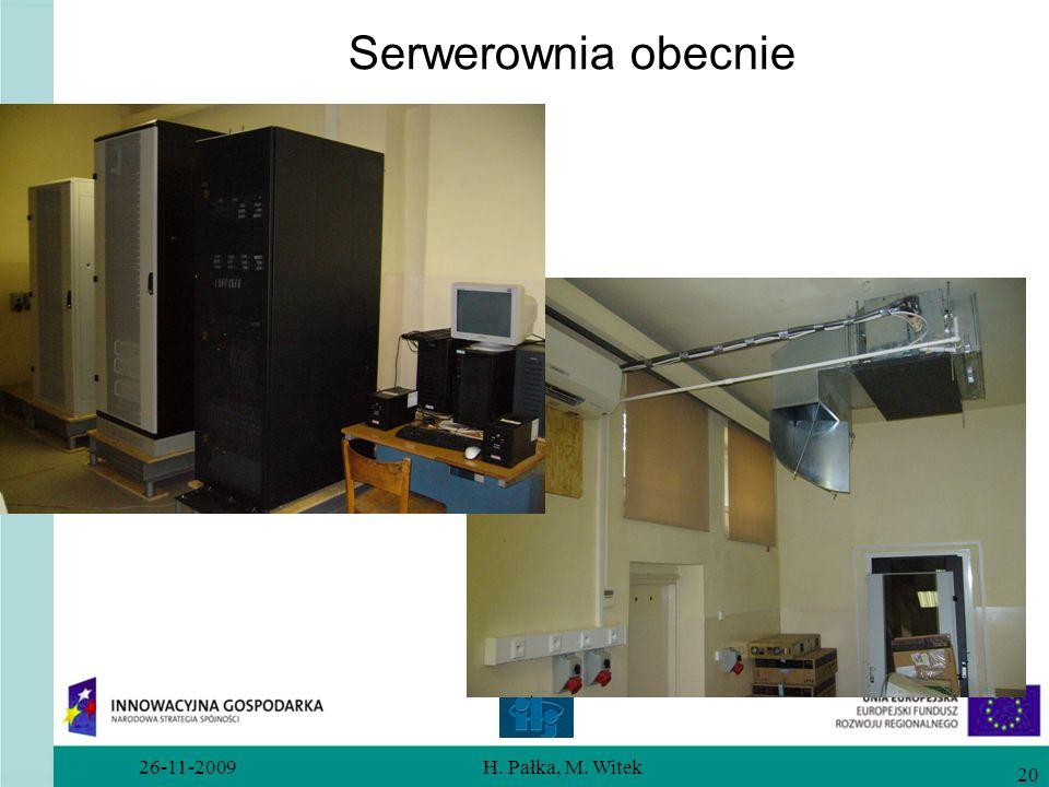 Serwerownia obecnie 26-11-2009 H. Pałka, M. Witek