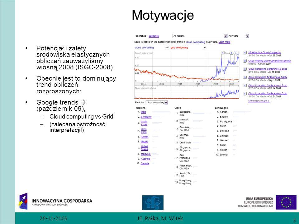 Motywacje Potencjał i zalety środowiska elastycznych obliczeń zauważyliśmy wiosną 2008 (ISGC-2008)