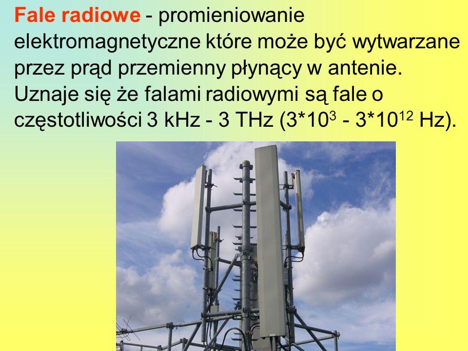 Fale radiowe - promieniowanie elektromagnetyczne które może być wytwarzane przez prąd przemienny płynący w antenie.