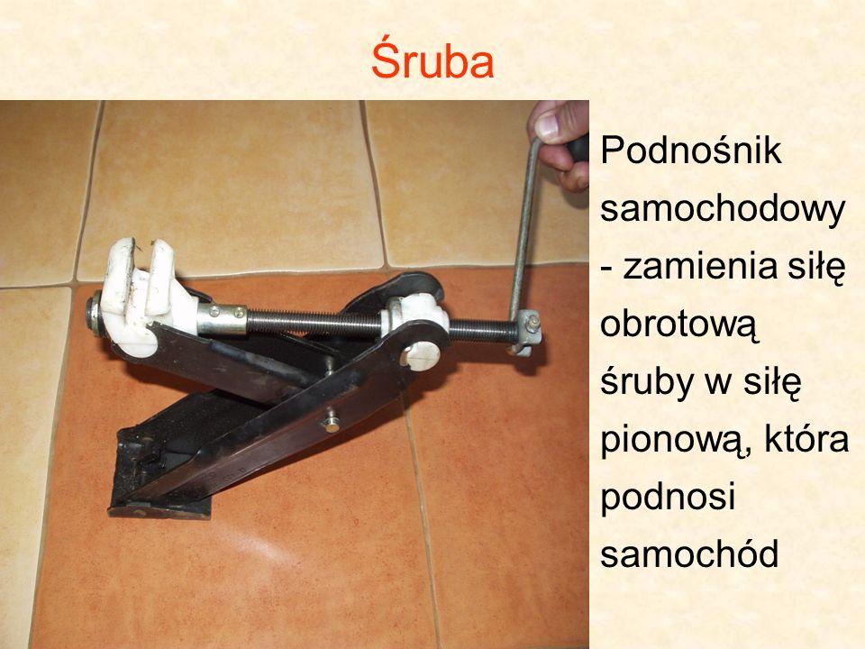 Śruba Podnośnik samochodowy - zamienia siłę obrotową śruby w siłę pionową, która podnosi samochód