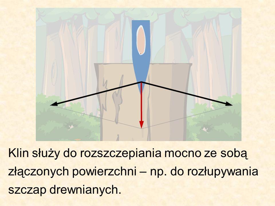 Klin służy do rozszczepiania mocno ze sobą złączonych powierzchni – np