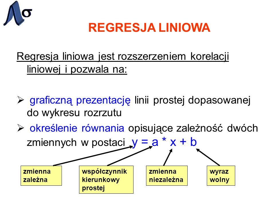 REGRESJA LINIOWARegresja liniowa jest rozszerzeniem korelacji liniowej i pozwala na: