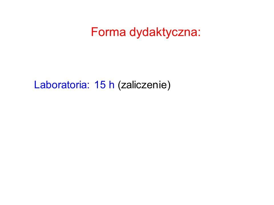 Forma dydaktyczna: Laboratoria: 15 h (zaliczenie)