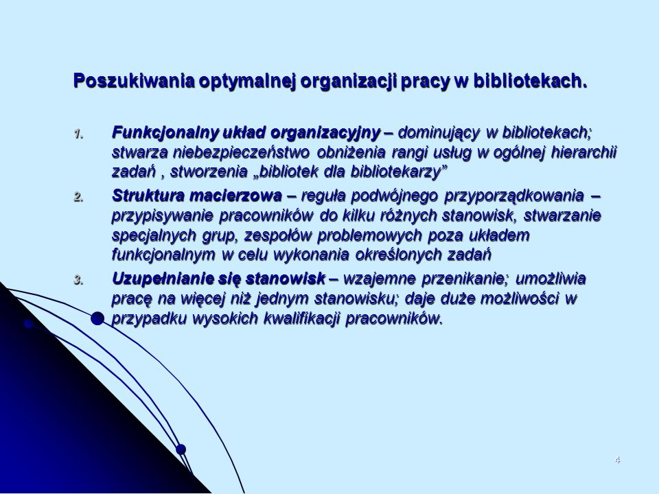 Poszukiwania optymalnej organizacji pracy w bibliotekach.