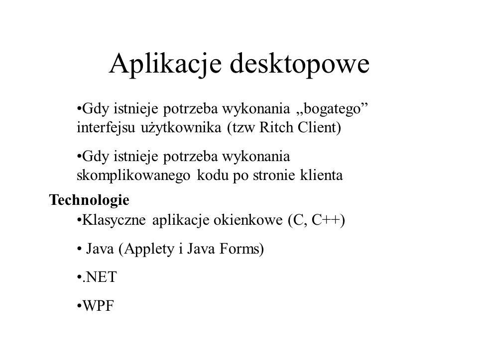"""Aplikacje desktopowe Gdy istnieje potrzeba wykonania """"bogatego interfejsu użytkownika (tzw Ritch Client)"""