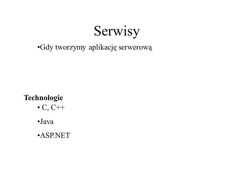 Serwisy Gdy tworzymy aplikację serwerową Technologie C, C++ Java