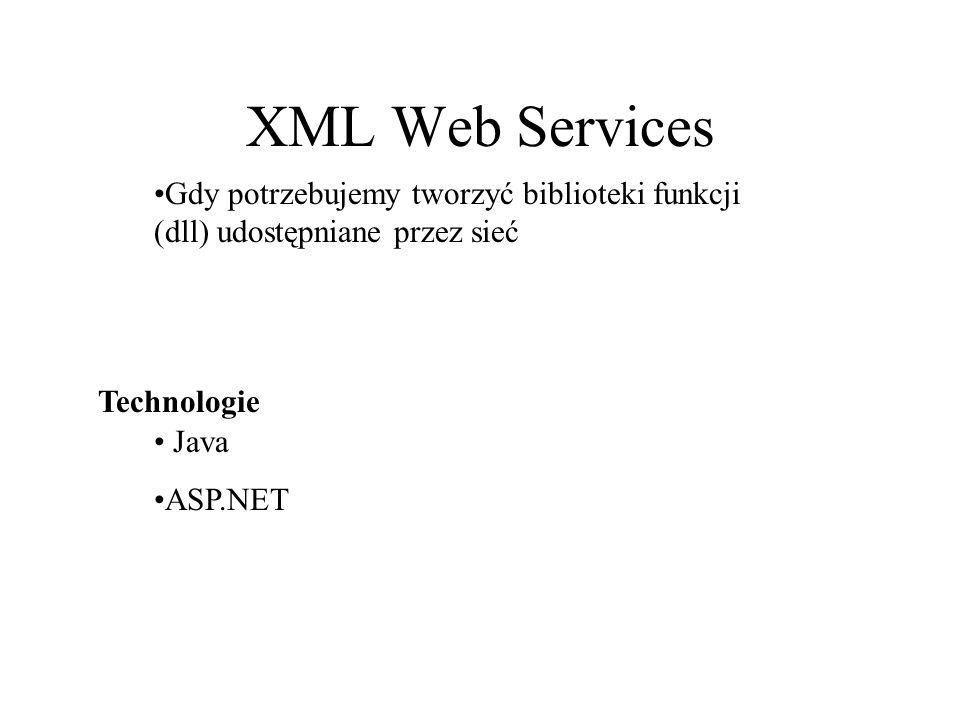 XML Web Services Gdy potrzebujemy tworzyć biblioteki funkcji (dll) udostępniane przez sieć. Technologie.