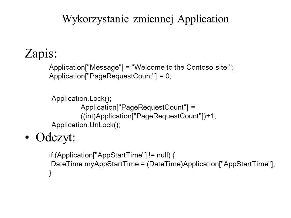 Wykorzystanie zmiennej Application