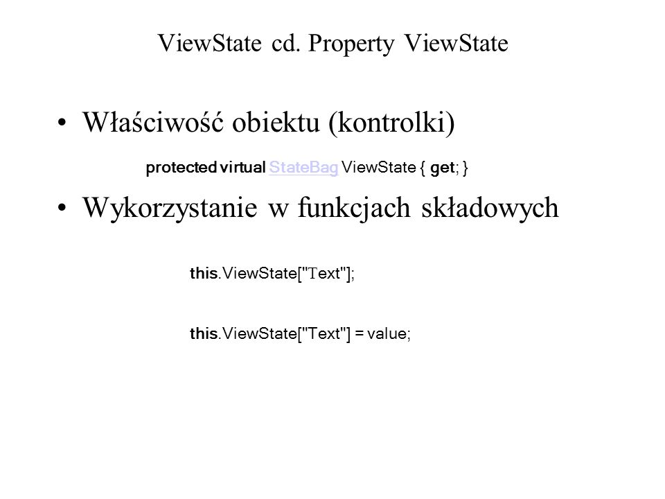 ViewState cd. Property ViewState