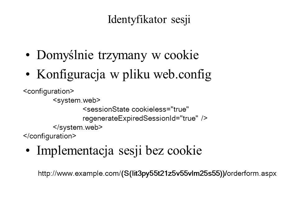 Domyślnie trzymany w cookie Konfiguracja w pliku web.config