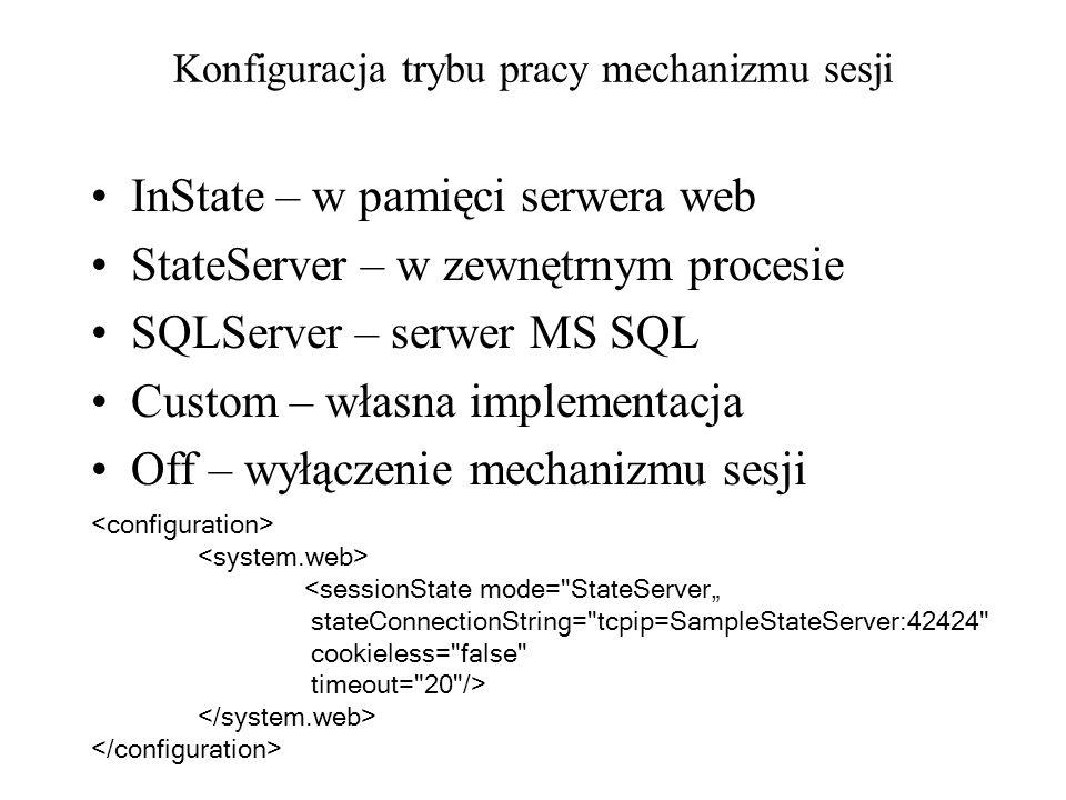 Konfiguracja trybu pracy mechanizmu sesji