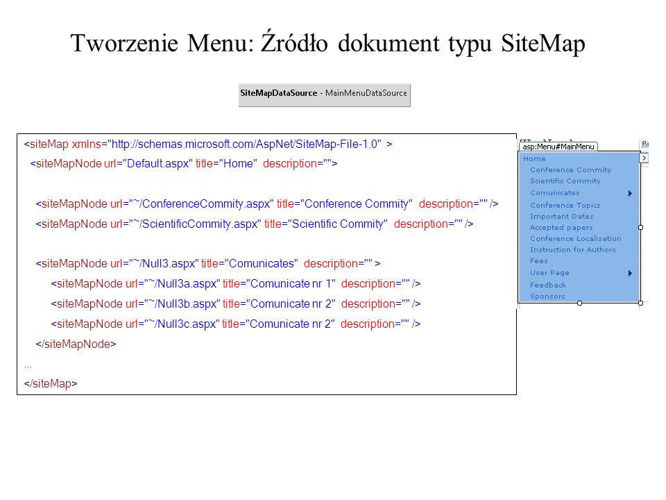 Tworzenie Menu: Źródło dokument typu SiteMap