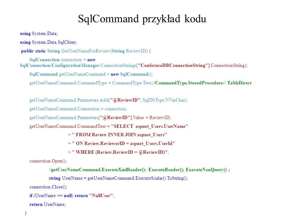 SqlCommand przykład kodu